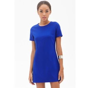 Royal Blue Short-sleeve Shift Dress